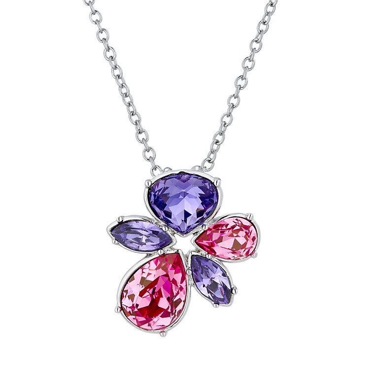 Radiance Tanzanite & Rose Swarovski Element Flower Pendant - Product number 1322575
