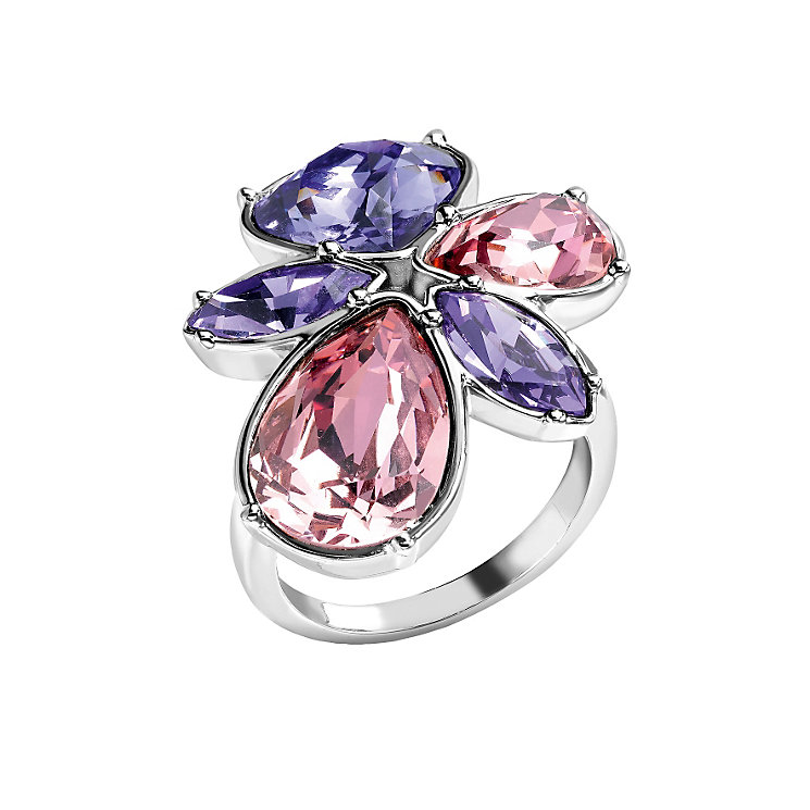 Radiance Tanzanite & Rose Swarovski Element Flower Ring L - Product number 1322583