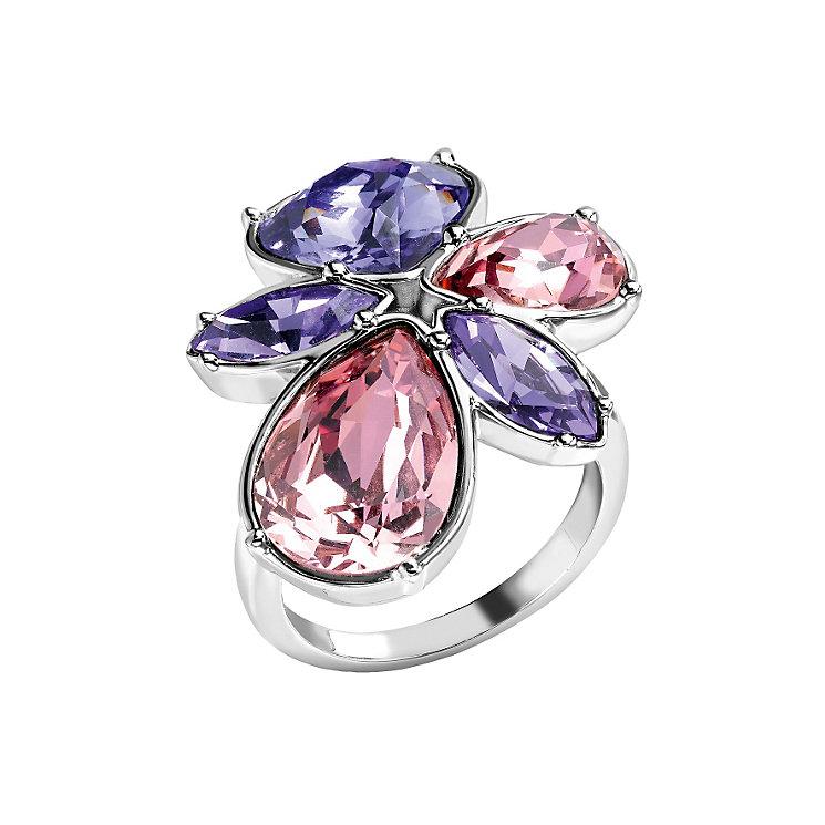 Radiance Tanzanite & Rose Swarovski Element Flower Ring P - Product number 1322605