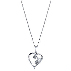 9ct White Gold Cubic Zirconia Heart Pendant - Product number 1324055