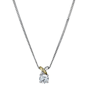 Silver & 9ct Yellow Gold Cubic Zirconia Kiss Pendant - Product number 1324071