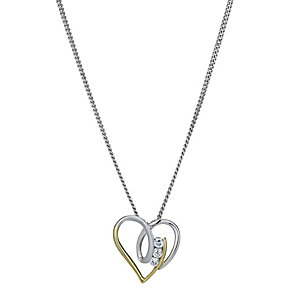 Silver & 9ct Gold Cubic Zirconia Swirl Heart Pendant - Product number 1324098
