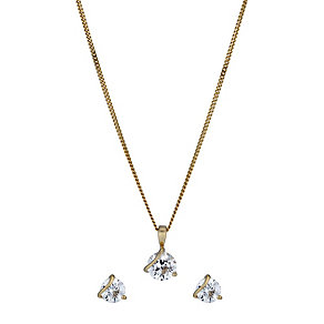 Lumiere 18ct Gold-Plated Swarovski Zirconia Pendant - Product number 1324152