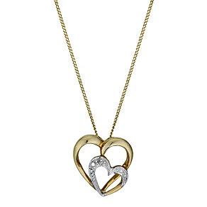 9ct Yellow Gold Cubic Zirconia Interlocking Heart Pendant - Product number 1324829