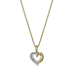 9ct Gold Cubic Zirconia Heart Pendant - Product number 1324845