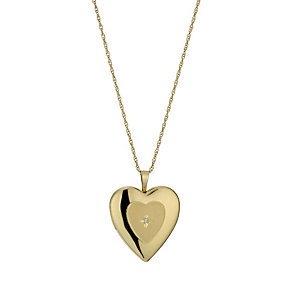 Together Bonded Silver & 9ct Gold Diamond Heart Locket - Product number 1324861