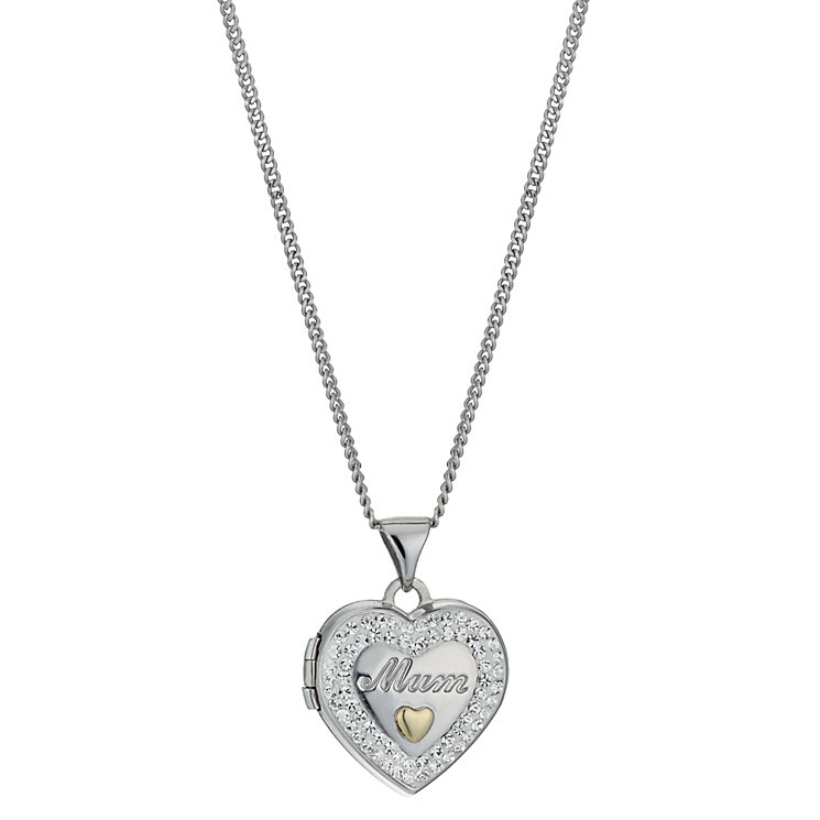 "Silver & 9ct Yellow Gold 18"" Crystal Mum Locket - Product number 1324942"