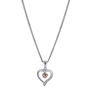 Silver & 9ct Rose Gold Cubic Zirconia Pendant - Product number 1324977