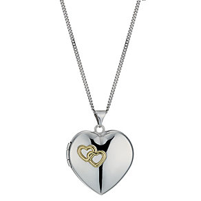 Silver & 9ct Gold Together Forever Heart Locket - Product number 1324993