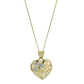 9ct Yellow Gold Flower Embossed Heart Locket - Product number 1325000