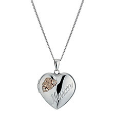 Silver & 9ct Rose Gold Plated Diamond Heart Mum Locket - Product number 1325043
