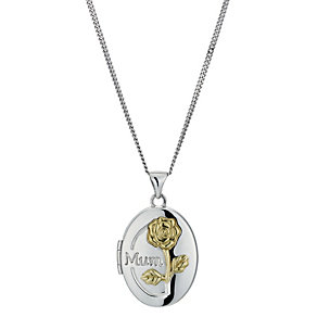 Silver & 9ct Yellow Gold Plated Oval Mum Locket - Product number 1325078