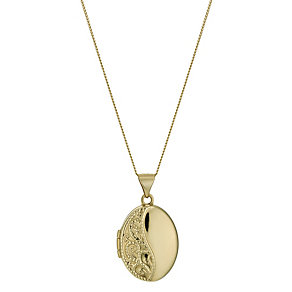 "9ct Yellow Gold 18"" Small Oval Swirl Locket - Product number 1325094"