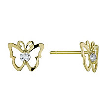 9ct Yellow Gold Cubic Zirconia Butterfly Stud Earrings - Product number 1325191