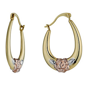 9ct Three Tone Rose Creole Hoop Earrings - Product number 1325213