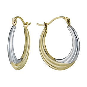 9ct Two Tone Ridged Creole Hoop Earrings - Product number 1325248