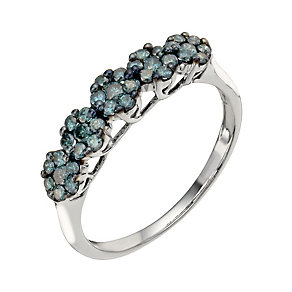 9ct white gold 45 point treated blue diamond cluster ring - Product number 1325256