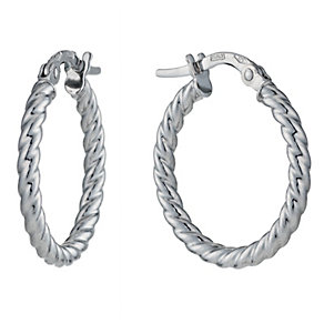 9ct White Gold 18mm Twist Creole Hoop Earrings - Product number 1325957