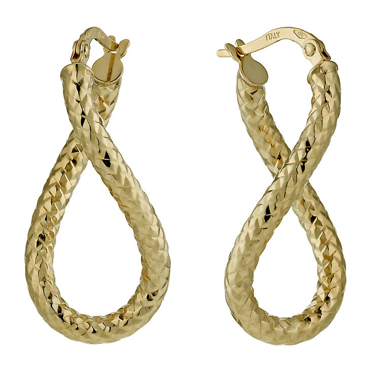 9ct Yellow Gold Oval Twisted Creoles - Product number 1325965