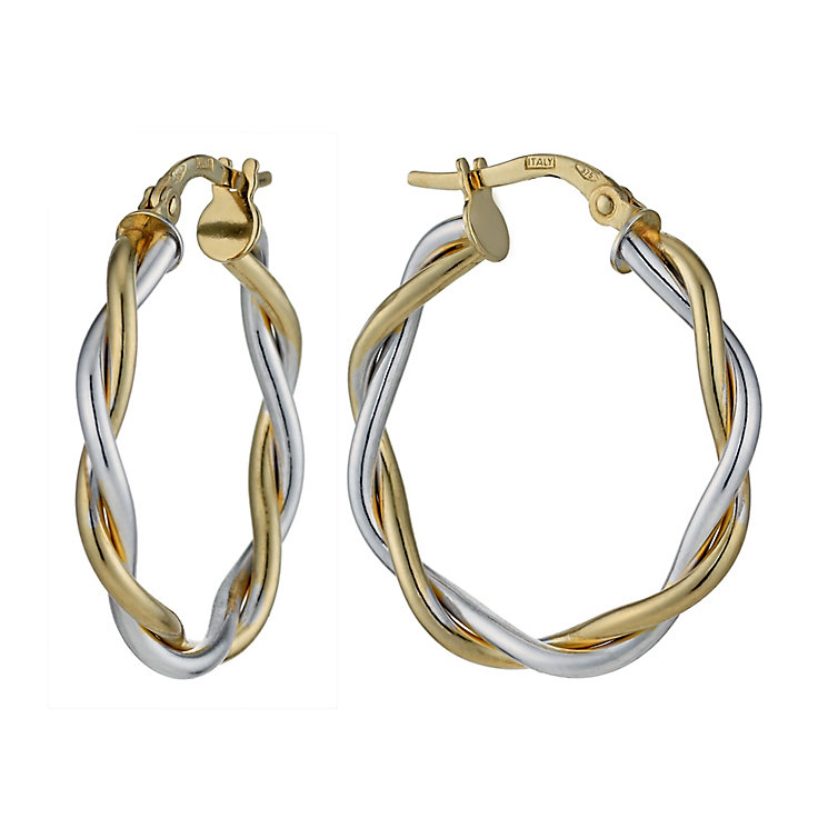 9ct Yellow and White Gold 24mm Twist Creole Hoop Earrings - Product number 1325973