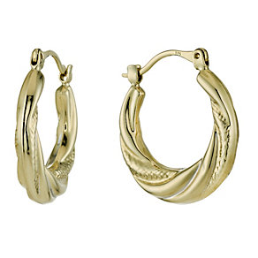 9ct Yellow Gold Ribbed Creole hoop Earrings - Product number 1325981