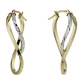 9ct Two Colour Large Twist Diamond Cut Creole Hoop Earrings - Product number 1326007