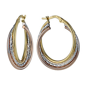 9ct Three Colour Diamond Cut Creole Hoop Earrings - Product number 1326066