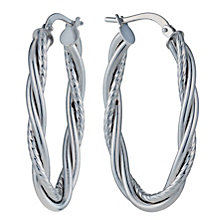 9ct White Gold Oval Fancy Twist Creole Hoop Earrings - Product number 1326120