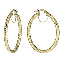 9ct Yellow Gold Round Creole Hoop Earrings - Product number 1326155