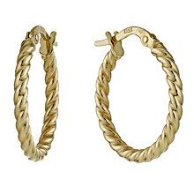 9ct Yellow Gold Twist Creole Hoop Earrings - Product number 1326198