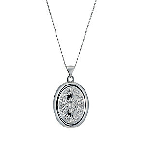 9ct White Gold 18 Inch Embossed Oval Locket - Product number 1326201