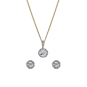 9ct yellow gold 15 point diamond earrings & pendant set - Product number 1326430