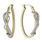 9ct yellow & white gold diamond swirl hoop earrings - Product number 1326708