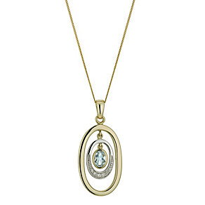 9ct yellow & white gold diamond & blue topaz oval pendant - Product number 1326724
