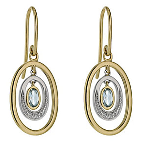 9ct yellow & white gold diamond & blue topaz oval earrings - Product number 1326732