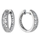 Sterling silver diamond cut out hoop earrings - Product number 1326759