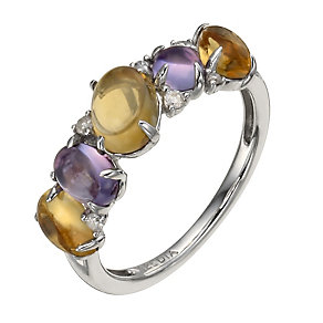 Sterling silver diamond, amethyst & citrine cabochon ring - Product number 1326767