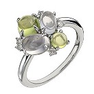 Sterling silver diamond, rose quartz & peridot cabochon ring - Product number 1326899