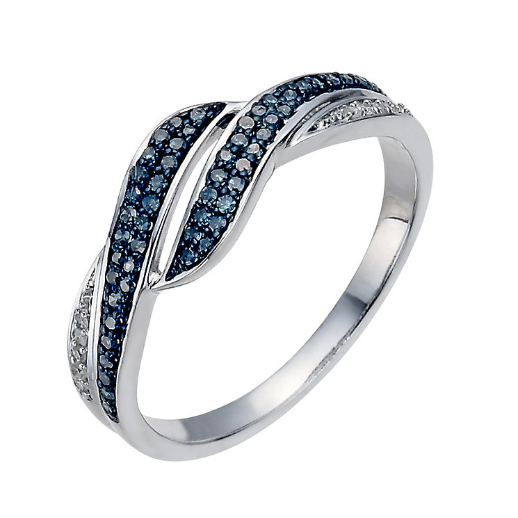 Sterling silver 19 point white & treated blue diamond ring - Product number 1327038