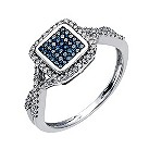 Sterling silver 30 point white & treated blue diamond ring - Product number 1327151