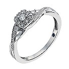 Sterling silver 12 point diamond square cut cluster ring - Product number 1327747