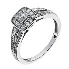Sterling silver 20 point diamond cushion shape cluster ring - Product number 1327887