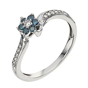 9ct white gold 45 point white & treated blue diamond ring - Product number 1328158