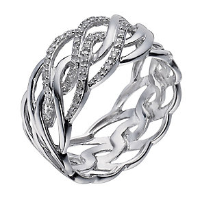 Sterling silver 12 point diamond wave ring - Product number 1328832