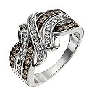 Sterling silver 1/2 carat white & natural brown diamond ring - Product number 1329081