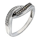 Sterling silver 12 point white & natural brown diamond ring - Product number 1329227