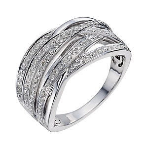 Sterling silver 0.33ct diamond multi-strand ring - Product number 1329480