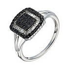 Sterling silver 1/2 carat white & treated black diamond ring - Product number 1329626