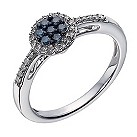 Sterling silver 1/4 carat white & treated blue diamond ring - Product number 1329758