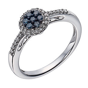 Sterling silver 0.25 ct white & treated blue diamond ring - Product number 1329758